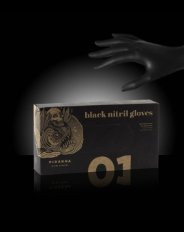 OUT OF STOCK - Piranha non-sterile black nitrile gloves powder-free box of 100