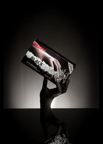 Gants noirs latext piranha non stériles non poudrés - Boite de 100