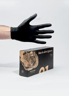 Piranha Non-sterile black nitrile gloves powder-free box of 100