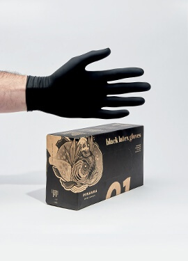 Piranha Non-sterile black latex gloves powder-free box of 100