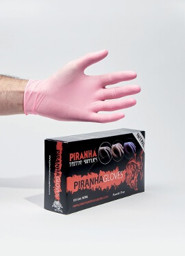 Piranha non sterile pink nitrile gloves, powder free