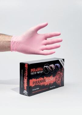 Gants rose nitrile Piranha non stériles, non poudrés - Boite de 100